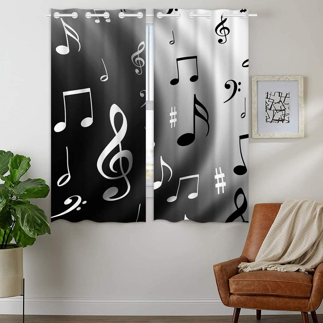 HommomH 28 x 48 inch Curtains (2 Panel) Grommet Top Darkening Blackout Room Music Musical Notes