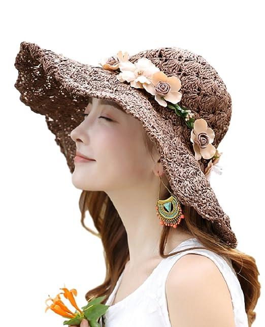 c953c1fc4d4cc Woman s UV Protection Sun Hats Packable Summer Hat Summer Beach Wide Brim Travel  Sun Hat at Amazon Women s Clothing store