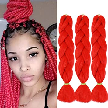 Braiding Hair Red Synthetic Jumbo Braiding Hair High Temperature Fiber Crochet Braids Extensions Red 24 3pcs Beauty