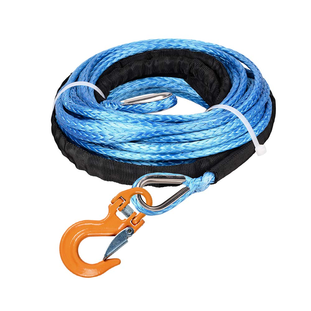 Astra Depot 50ft X 1//4 Blue UHMWPE Synthetic Winch Rope Extension 7500lbs Cable w//Steel Eyes Thimbles Both end /& 2X RED Half-Linked Forged Steel Winch Hook ATV UTV Off-Roading Vehicle