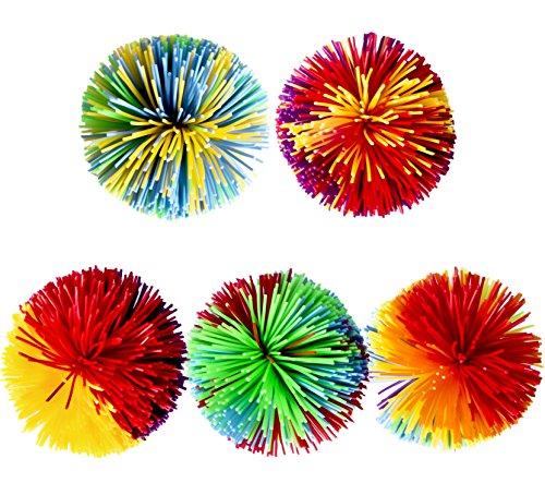 Trooer 5 Pack Monkey Stringy Balls, Soft Active Sensory Stress Balls Fun Toys, Rainbow Pom Bouncy Squishy Balls Colorful Fidgets Toys