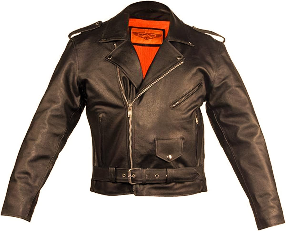 CD D C Mens Motorcycle Biker Genuine Classic Leather Belted Jacket Black