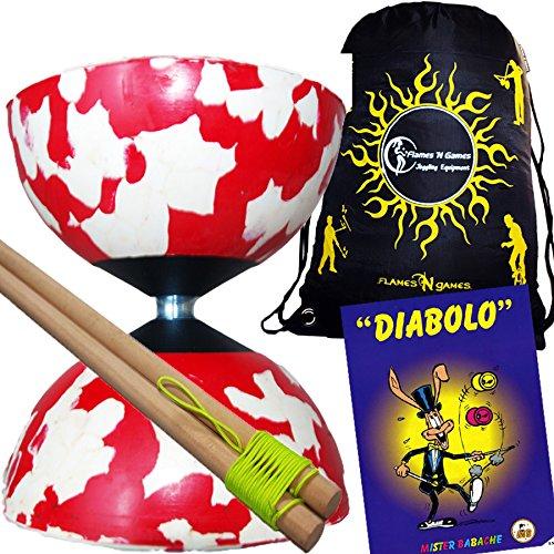 HARLEQUIN Diabolo Set (10 Colour Options) + Wooden Diabolo sticks, Mr Babache Diabolo Booklet of Tricks + Flames N Games Travel Bag! (Red/White)