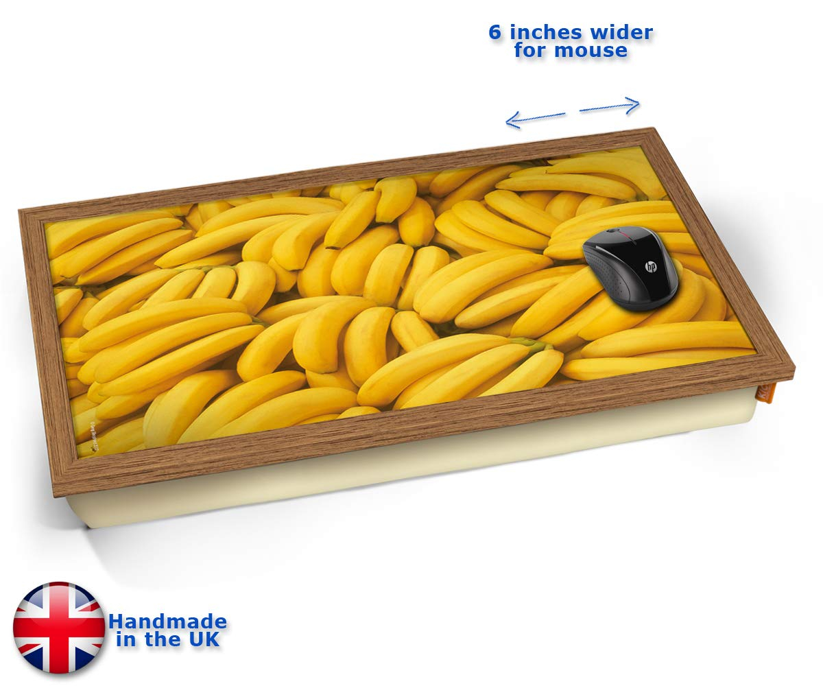 KICO Banana Fruit Cushioned Bean Bag Laptop Lap Tray Desk - Built-in EMF Shield (Electro Magnetic Field) - Wood Effect Frame