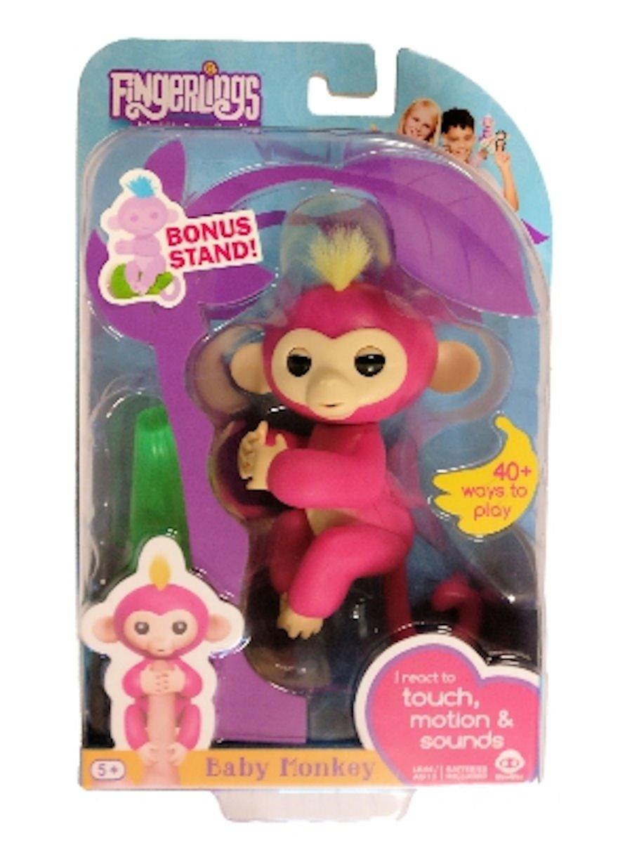 Fingerlings Baby Monkey - Bella - Pink (Includes Bonus Stand) WowWee