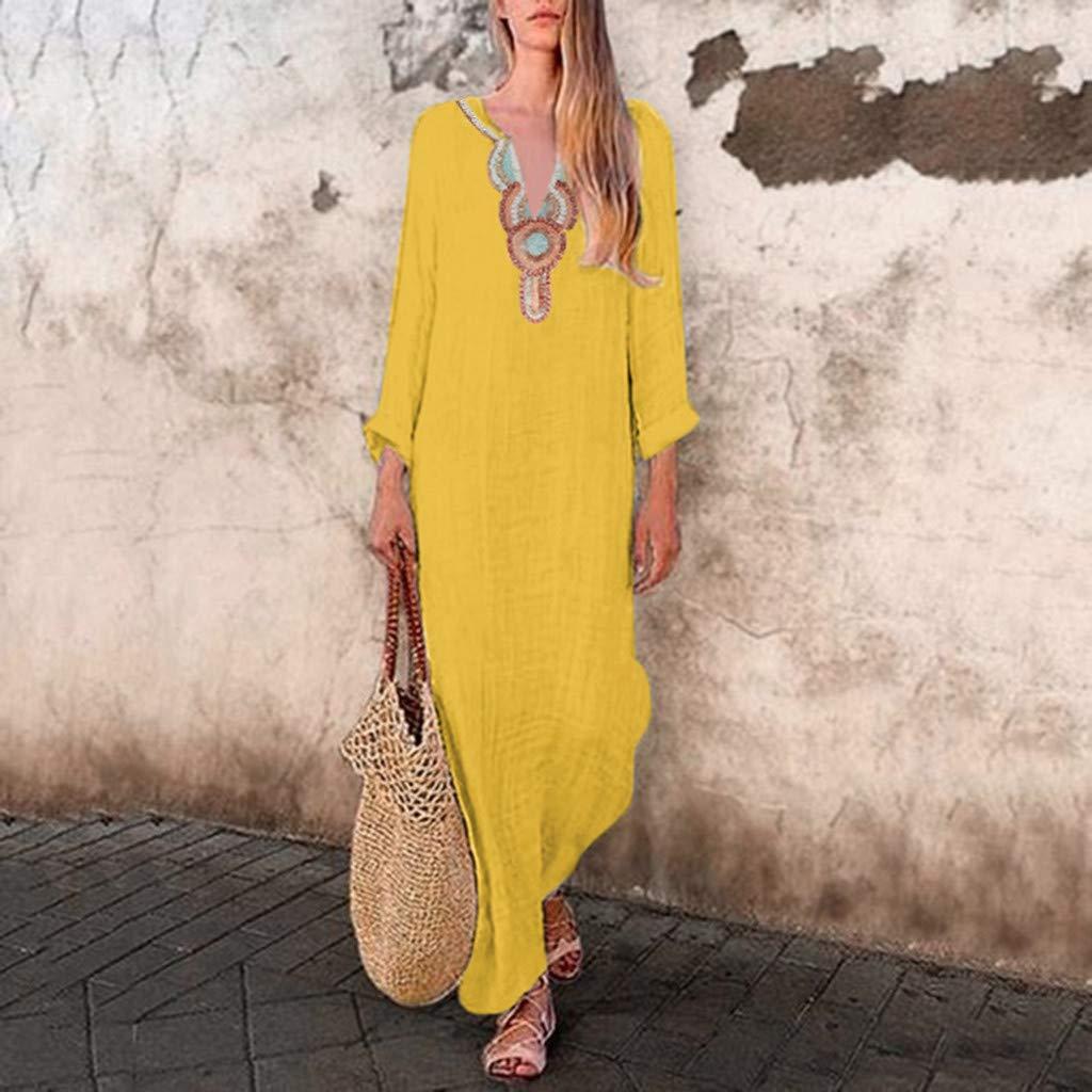 Nuewofally Womens Deep V Neck Maxi Dress Plus Size Long Sleeve Sundress Cotton Kaftan Long Dress Party Club Dress