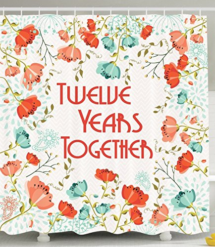 [Anniversary Decor 19th Year Gifts for Her Wives Women and Men Poppies Poppy Blossoms Buds Flowers Decorations in Bathroom Accessories Bath Set Shower Curtain with Hooks Turquoise Coral Green Cream] (Shell Soon See Her Feet)