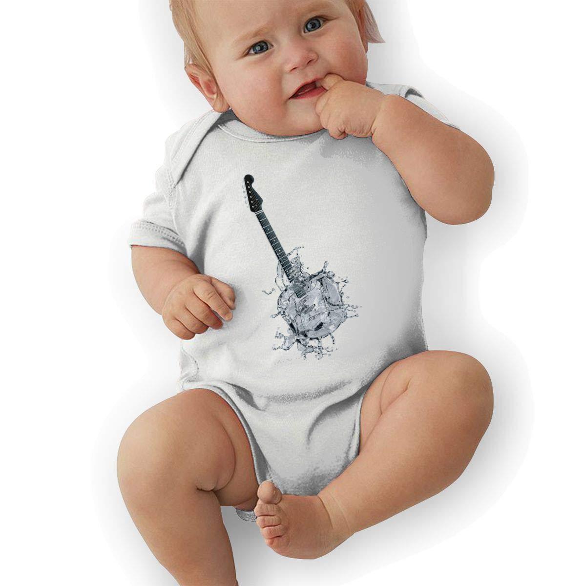 Newborn Baby Girls Bodysuit Short-Sleeve Onesie Creative Guitar Water Print Outfit Summer Pajamas