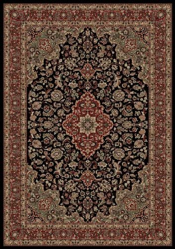 Persian Classics Medallion Kashan Black Oriental Rug Size 9 3 x 12 10