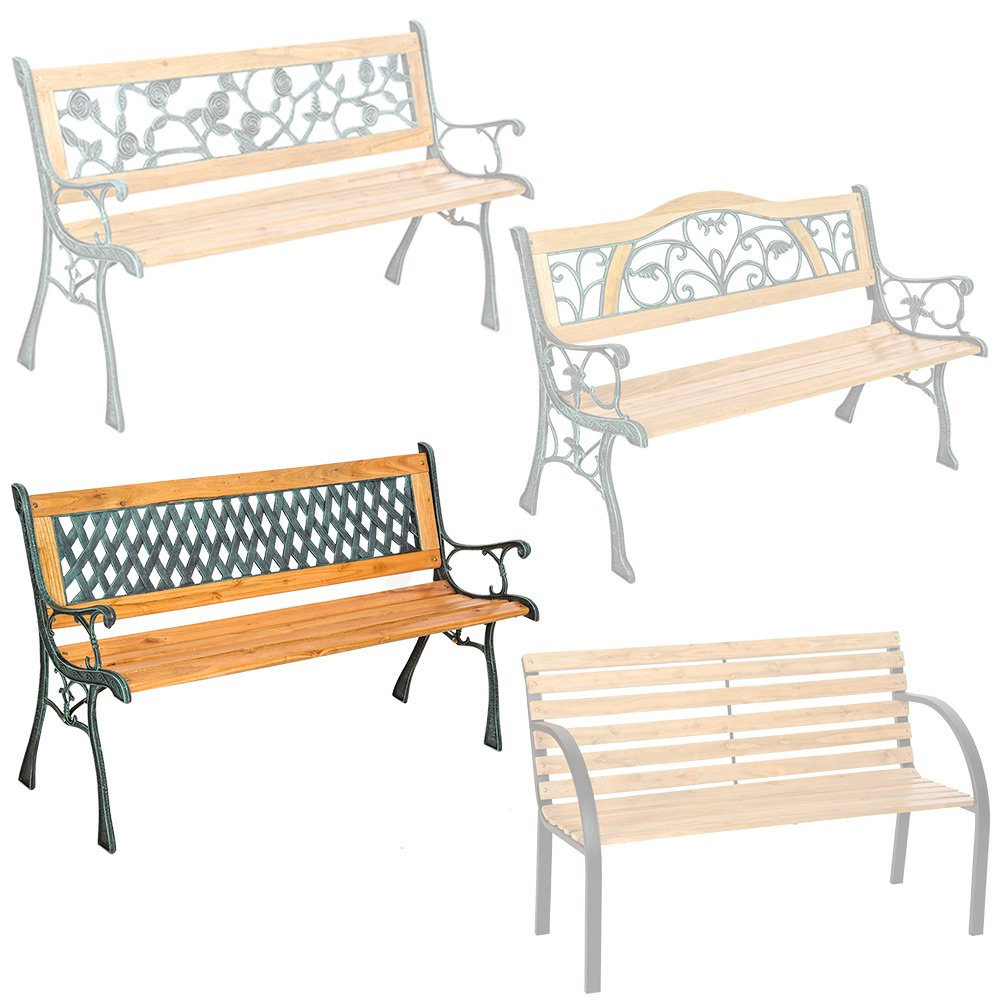 TecTake 3 Seater Wooden Slat Garden Bench Cast Iron Legs - different models - (Kathi | No. 401426)