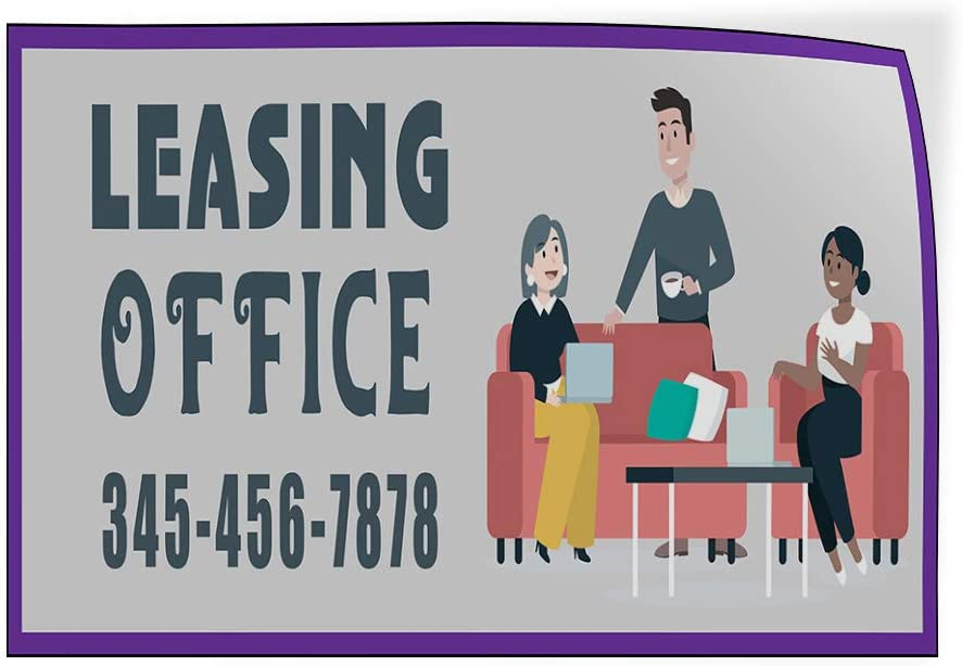 Custom Door Decals Vinyl Stickers Multiple Sizes Leasing Office Phone Number Purple Business Leasing Office Outdoor Luggage /& Bumper Stickers for Cars Grey 34X22Inches Set of 10