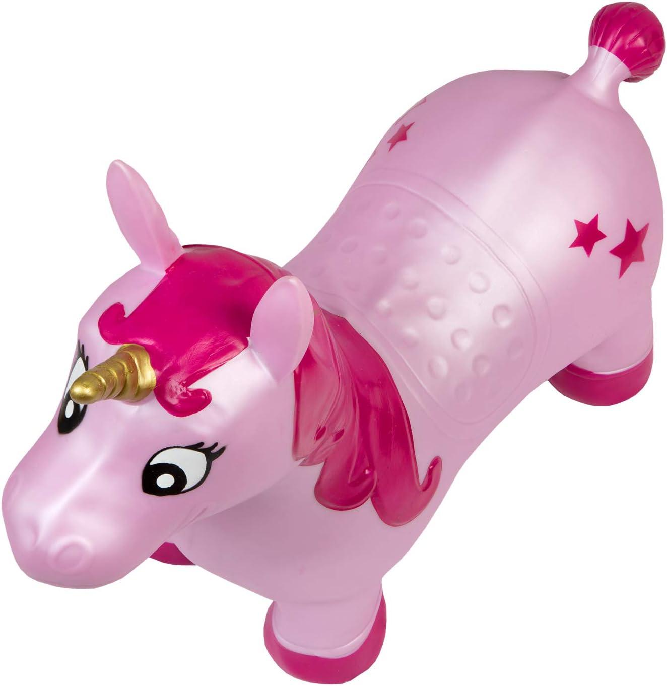 59 x 23 x 53 cm ca al parco o allasilo Idena 40133 pompa inclusa perfetto per interni ed esterni Cavallo da salto a forma di unicorno rosa con stelle multicolore portata fino a 50 kg