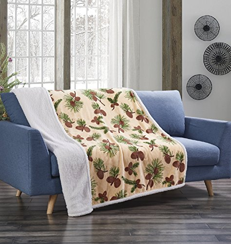 Forest Pines Beige Pinecone Flannel Throw Blanket with Sherpa Backing 50