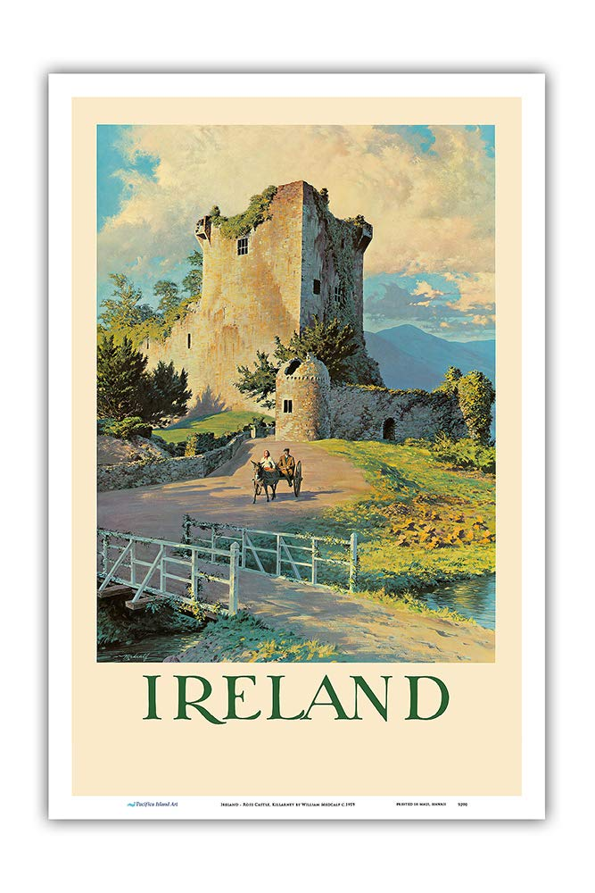 Ireland Pacifica Island Art Master Art Print Ross Castle Killarney 12in x 18in Vintage World Travel Poster by William Medcalf c.1959