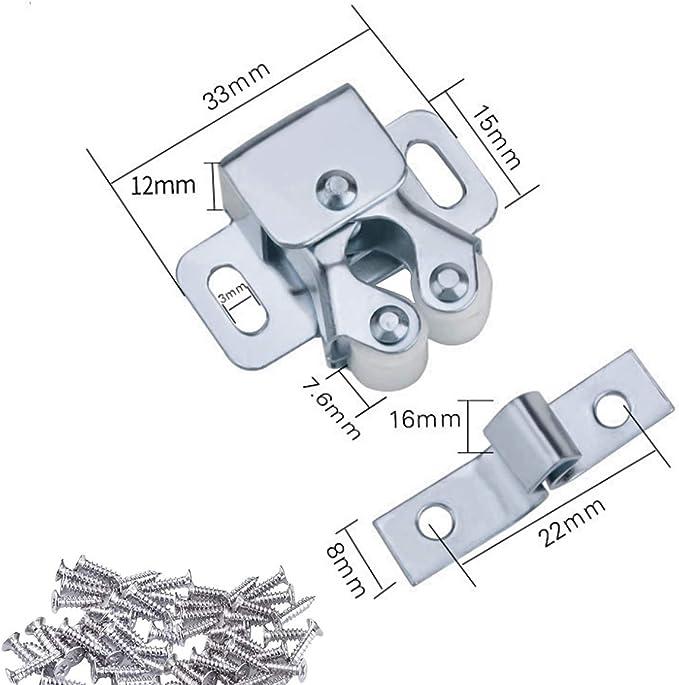 Natuce 12PCS Cierres para Puerta, Cierres de Doble Rodillo para Puerta de Mueble, Pestillo de Glope Cierres para Puerta de Armario Cocina Casa y Muebles Baño Cerradura de Captura de Puertas (Marrón):