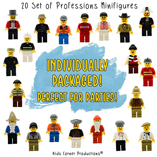 Kid's Corner Productions 20 Set Of Professions Action Mini Figures Toy | Kids Party Favor Goodies Bags | Best Gift For Birthdays | Special Collection Includes - Policeman, Fireman, Race Driver & More