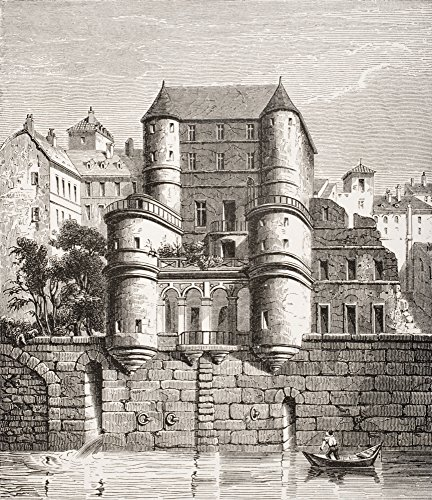 Hotel Des Ursins Paris France Built In 14Th Century Restored In 16Th And Now Destroyed 19Th Century Reproduction Of Earlier Work Poster Print (14 x 16) ()