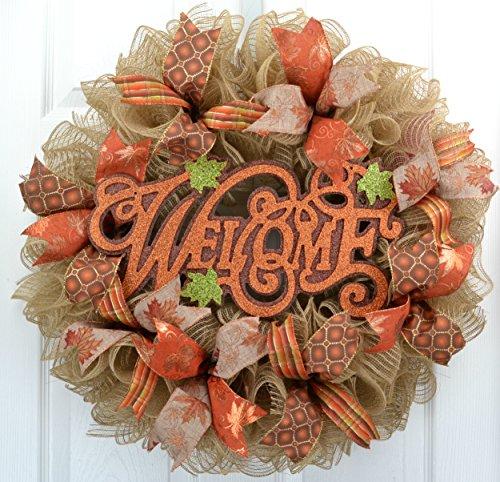 Fall Welcome Autumn Thanksgiving Front Door Outdoor Mesh Wreath; Orange Green Jute (Fall Front Door)