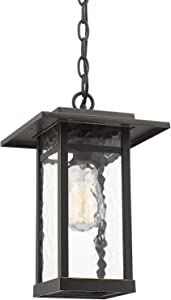Outdoor Pendant Light for Porch, Beionxii 1-Light Exterior Hanging Lantern Light Fixtures Oil Rubbed Bronze Finish with Water Ripple Glass, Ceiling Height Adjustable - A268 Series