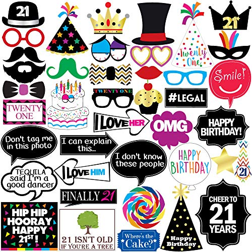 21st Birthday Photo Booth Party Props - 40 Pieces - Funny 21st Birthday Party Supplies, Decorations and Favors]()