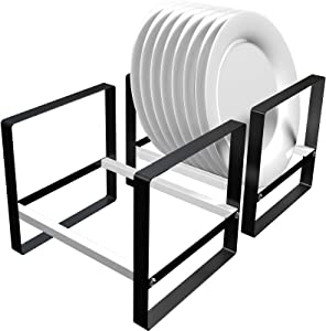 Black Metal Plate Holder Rack for Cabinet Organizer, Ganamoda Removable Dish Drying Rack for Kitchen Counter, Pantry, RV, Set of 2