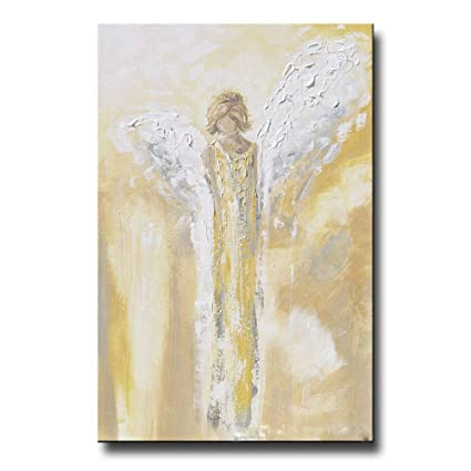 OCWTCH Art Peint à la Main Ange Peinture Or Gris Blanc ...