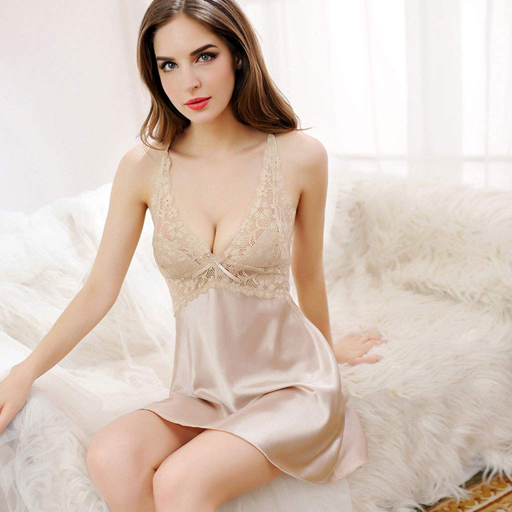 ZDD Strap Short Sexy Nightdress Ice Silk Hot Adult Lace Small Chest