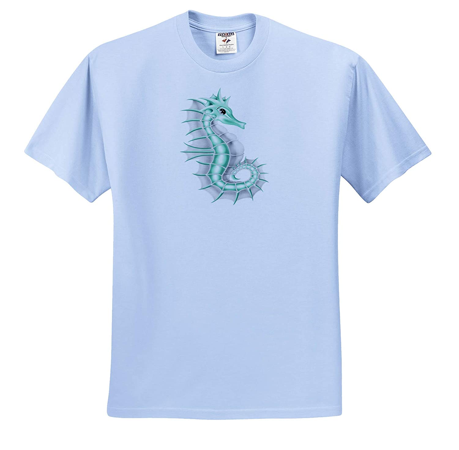 ts/_317935 Illustrations Adult T-Shirt XL 3dRose Anne Marie Baugh Green and White Seahorse Illustration
