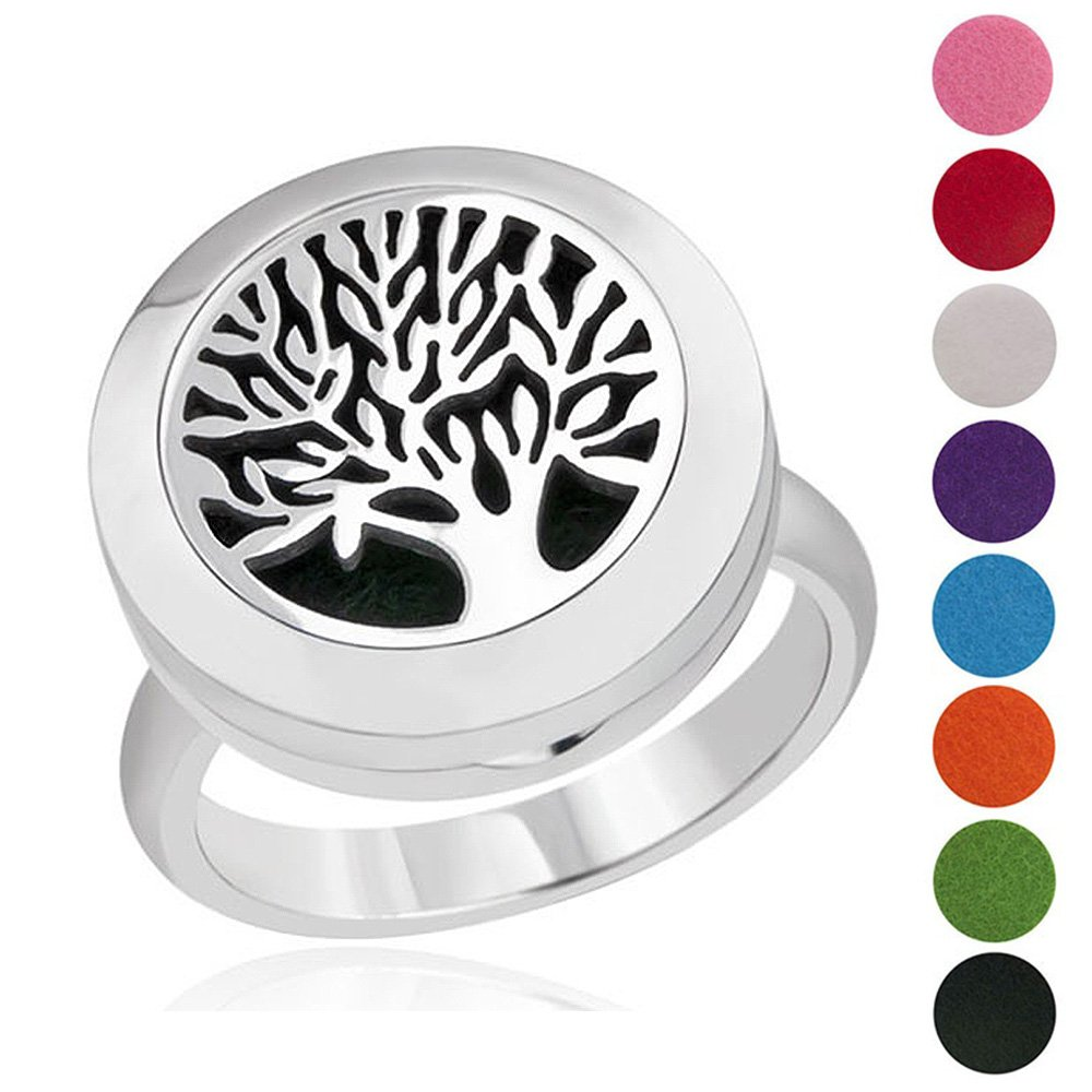 Tree of Life Essential Oil Diffuser Ring 316L Stainless Steel Magnet Locket Aromatherapy Rings, Best Gift Ideas for Women (Size 9)