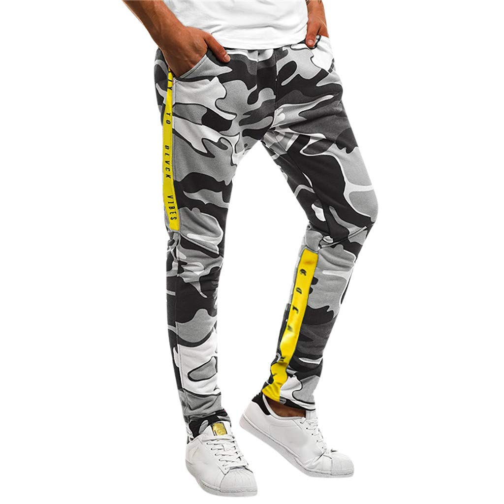 Shybuy Men's Stitching Camouflage Training Sports Trousers (M, Black)