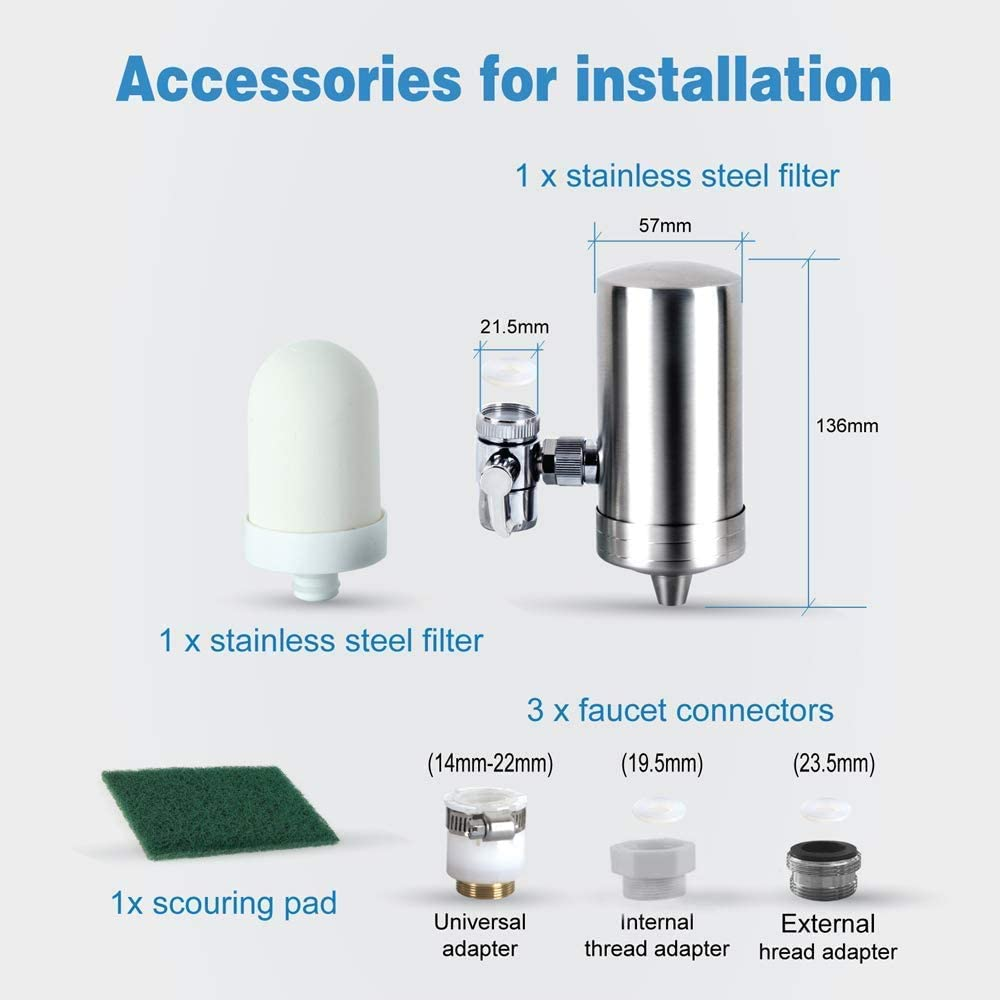 Faucet Water Filter Stainless-Steel Reduce Chlorine High Water Flow,Water Purifier with Ultra Adsorptive Material