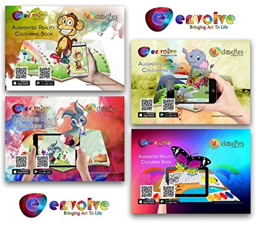 Animation in Augmented Reality Coloring Books for Kids - the New Interactive 4-Pack, 3D Coloring with Animation, AR/VR App Included
