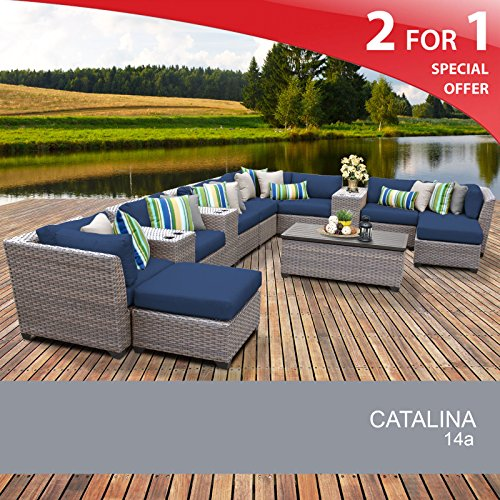 Catalina 14 Piece Outdoor Wicker Patio Furniture Set 14a For Sale