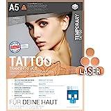 SKULLPAPER Tattoo-Transferfolie FÜR DIE HAUT - zum aufkleben und selbst gestalten - für Laserdrucker (A5-6 Blatt)