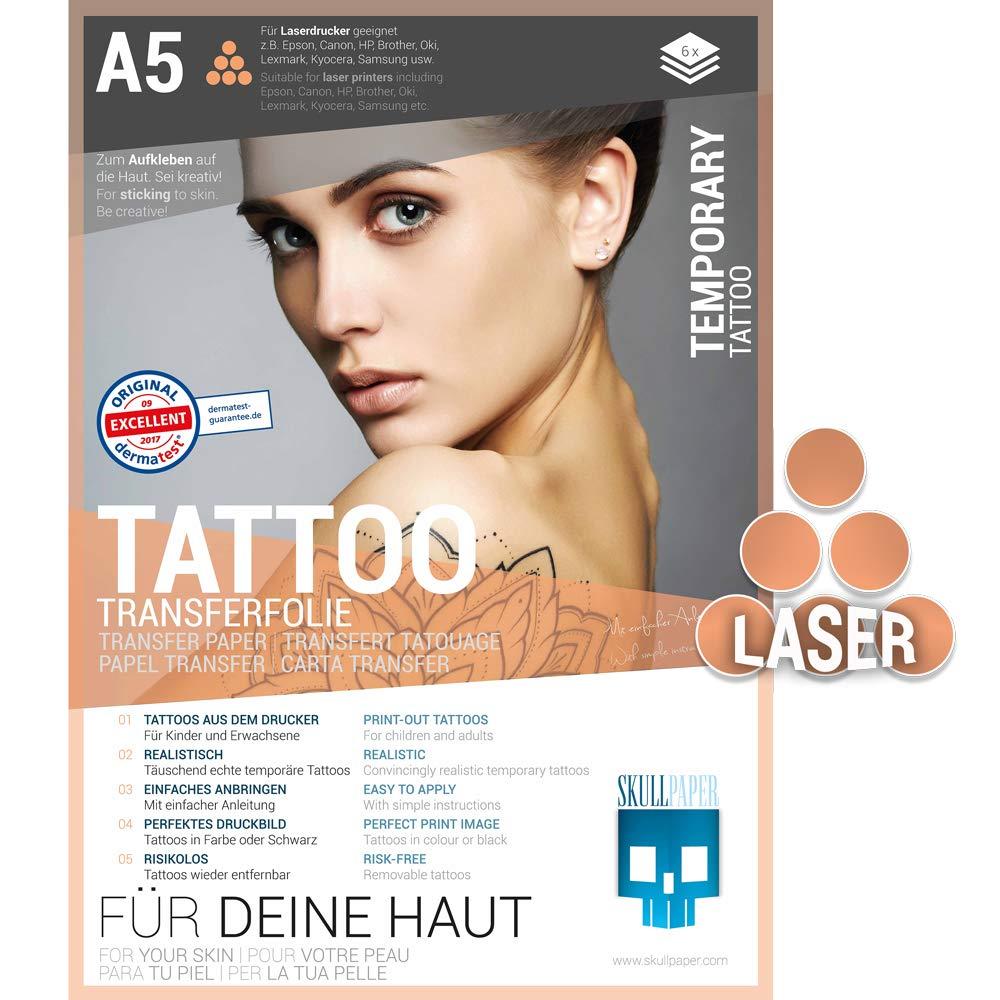 Skull Paper Tattoo della pellicola di trasferimento per la pelle–DIN A5da incollare e modificare individualmente–6fogli per stampanti laser SKULLPAPER