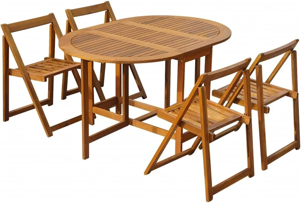 vidaXL 5 Piece Solid Acacia Wood Folding Outdoor Dining Set Garden Tables and Chairs Outdoor Dining Furniture Durable Stable Weatherproof