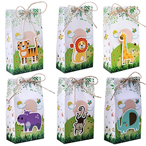 Aparty4u 48Pcs Jungle Theme Party Favor Bags Safari Animal Gift Bags, Zoo Goodie Candy Treat Boxes for Jungle Theme Birthday Baby Shower Supplies -