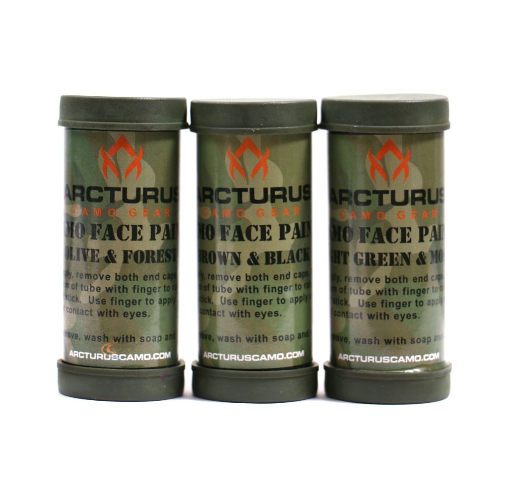 Arcturus Camo Face Paint Sticks - 6 Camouflage Colors in 3 Double-Sided Tubes