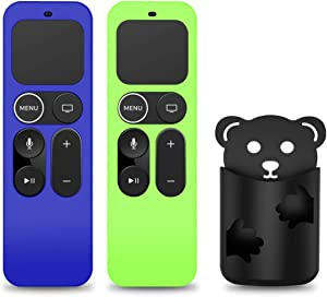[2 Pack] Protective Case for Apple TV 4K 5th, 4th Gen Remote, Anti-Slip Shockproof Silicone Cover for Apple TV Siri Remote 4K, 4th/5th Gen -with Remote Holder (Blue+Glow Green)