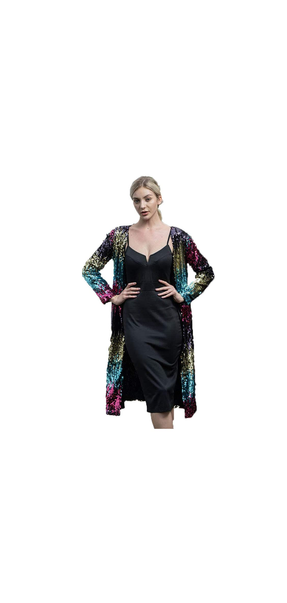 Rainbow Sparkly Sequin Loose Cover Up Long Sleeve For
