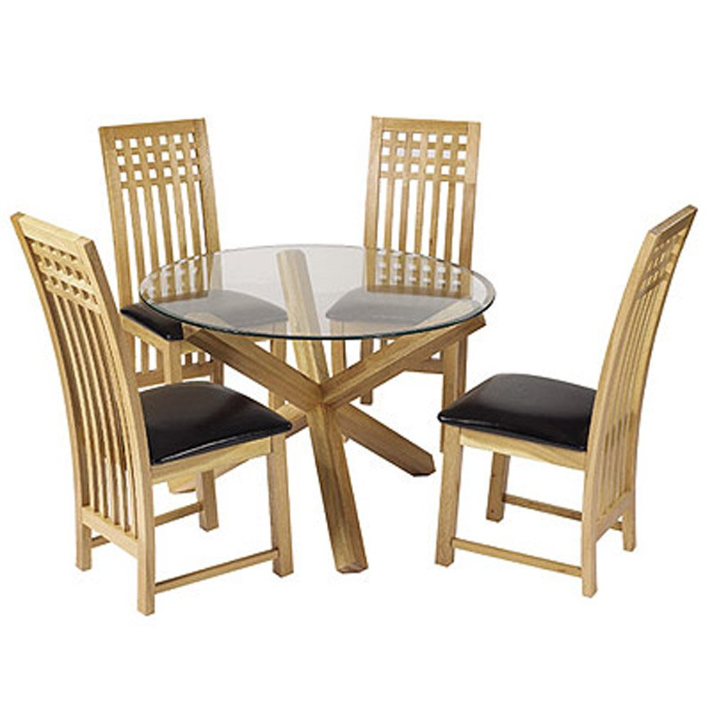 Oa oak dining room table phoenix - Lpd Furniture Oporto Dining Table In Oak With Clear Glass Amazon Co Uk Kitchen Home