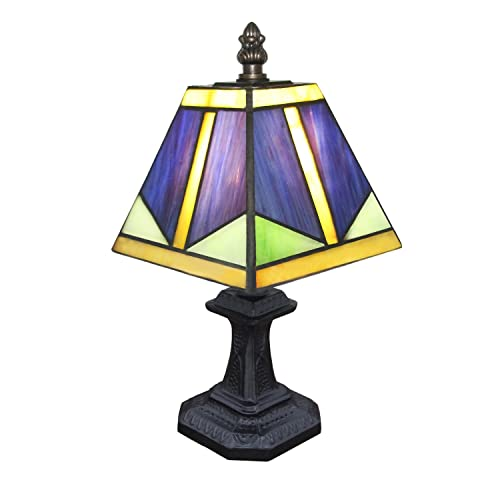 Carl Artbay CA1002TL01 Tiffany Style Table Lamp Blue Glass, Can be Used as Bedside Desk Lamp, Nightstand Lamp with Resin Base and Glass Lampshade for Bedroom, Living Room, Dresser, Kids Room, Study