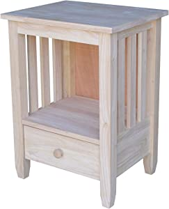 International Concepts BJ6TD Mission Tall End Table, Unfinished