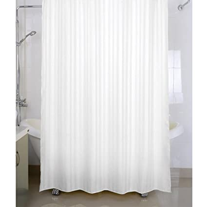Housey Wousey Polyester Striped Waterproof Shower Curtain With Rings72x80 Inch White