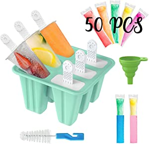 Stosts Popsicle Molds Ice Pop Maker, 6 Pieces Reusable Silicone Easy-Release Ice Shapes for DIY Homemade Frozen Treats, Bonuses 50 Popsicle Bags, 2 Ice Pop Sleeves, 1 Funnel and Cleaning Brush