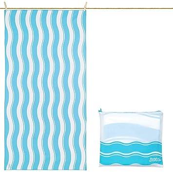 Toalla De Microfibra para Playa Diseño Ondas - Azul Grande