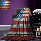 smallbeefly Rustic American USA Flag Digital Printing Blanket July Independence Day Weathered Antique Wooden Looking National Celebration Image Summer Quilt Comforter