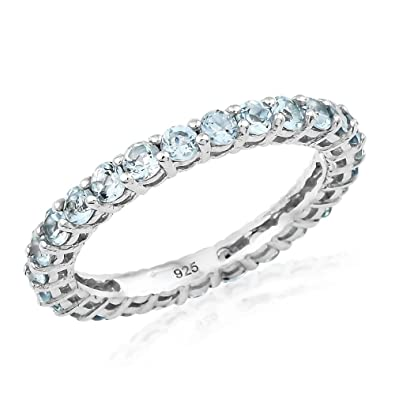 TJC Women Platinum Plated 925 Sterling Silver Aquamarine Eternity Ring Size S