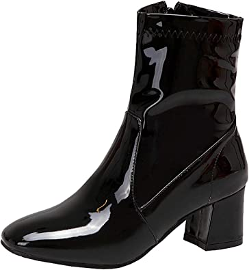 MAVMAX Womens Patent Leather Ankle