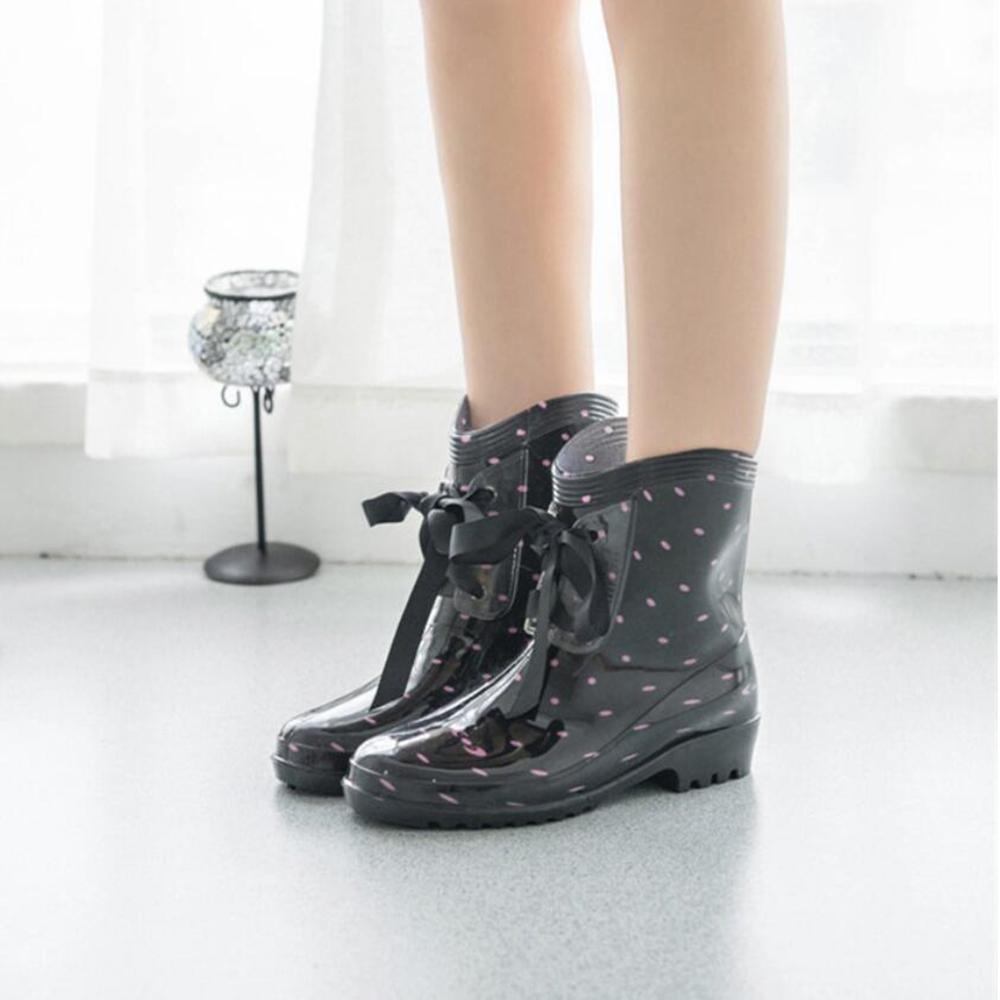 SIHUINIANHUA Lady Tube Regen Stiefel Fliege Regen Stiefel Stiefel Stiefel Wasser Schuhe Wasser Schuhe Sätze von Schuhen 2 36 ac4ff4